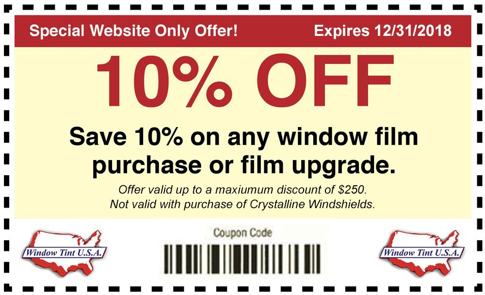 10% Off window tint coupon